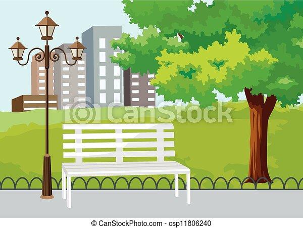 Öffentlicher Park im Stadtvektor - csp11806240