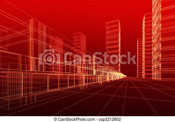 3D Architektur abstrakt - csp3212802