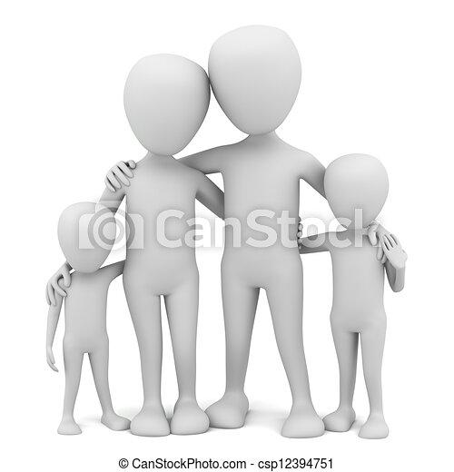 3d kleine Leute - Familie. - csp12394751