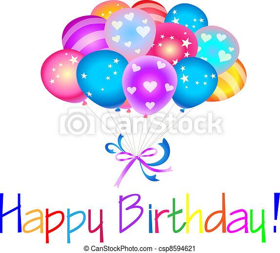 Alles Gute zum Geburtstag mit Ballons - csp8594621