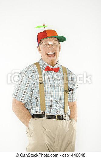 Mann gekleidet wie ein Nerd. - csp1440048