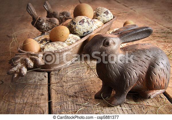 antikes , brauner, eier, holz, osterhase - csp5881377