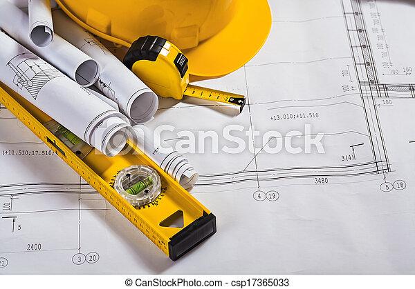 Architektur Blaupausen und Arbeitswerkzeug. - csp17365033
