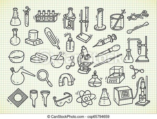ausrüstung, stil, satz, gekritzel, laboratorium - csp65794659