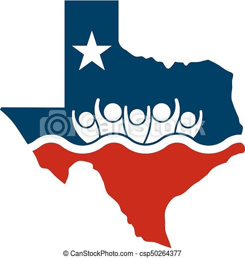 Konzept texas Menschen überfluten Relief-Logo - csp50264377