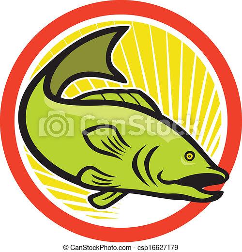 Bigmouth Bass Spring Cartoon Circle. - csp16627179