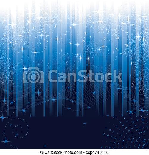 blaues, groß, schneeflocken, festlicher, muster, themes., oder, hintergrund., sternen, gestreift, weihnachten, winter - csp4740118