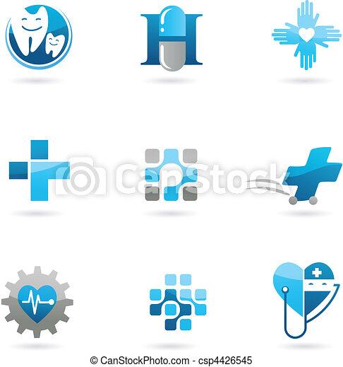 blaues, logos, heiligenbilder, gesundheitsfürsorge, medizinprodukt - csp4426545