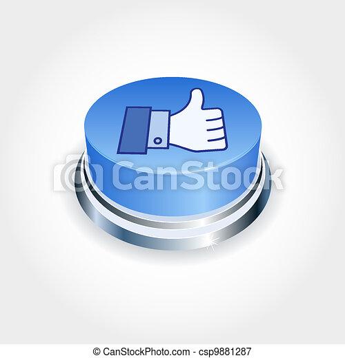 blaues, mögen, medien, concept., auf, sozial, perspective., taste, daumen - csp9881287