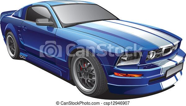 Blaues Muskelauto - csp12946907