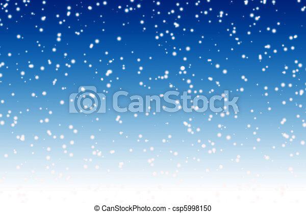 blaues, winter, aus, himmelsgewölbe, schnee, hintergrund, nacht, fallender  - csp5998150