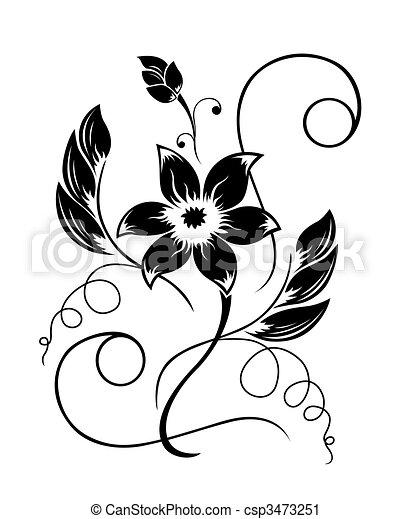 Blume schwarz ein weißes Muster - csp3473251