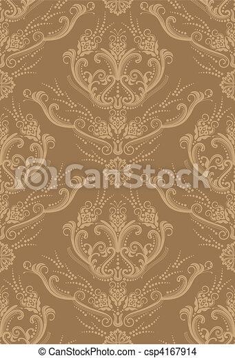 blumen-, brauner, tapete, luxus - csp4167914