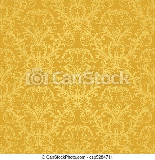 Luxusgoldene Blumentapete - csp5284711