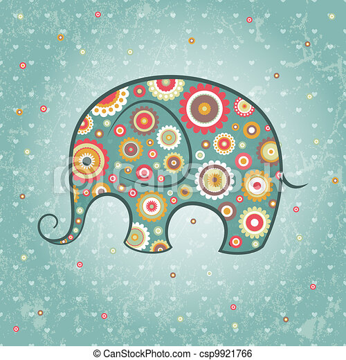 blumen-, vektor, elefant - csp9921766
