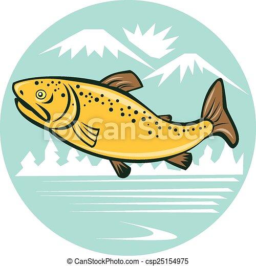 Braune Forellen springen im Kreis Cartoon. - csp25154975