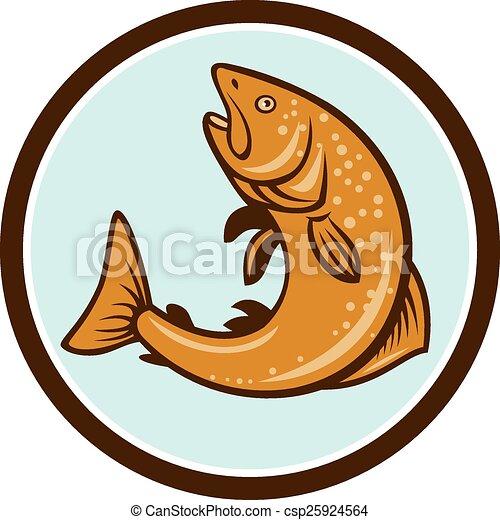 Braune Forellen springen im Kreis Cartoon. - csp25924564