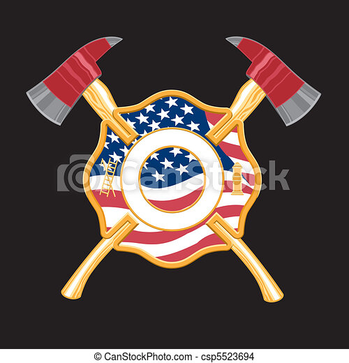 Feuerjäger kreuzen mit Äxten - csp5523694
