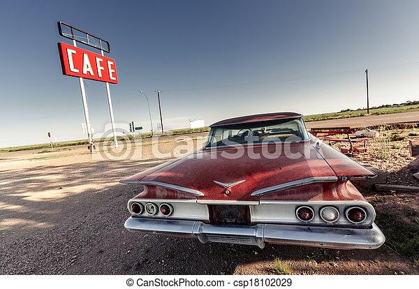 Cafe Schild entlang der historischen Route 66 - csp18102029