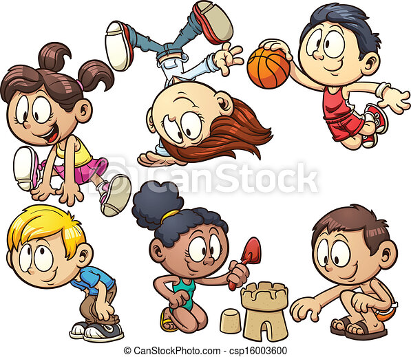Cartoon-Kinder spielen - csp16003600