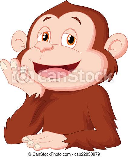Cartoon Schimpansen denken. - csp22050979