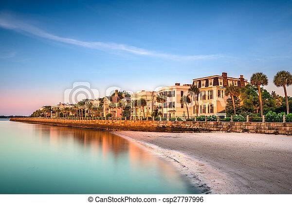 Charleston historisches Wohnviertel. - csp27797996