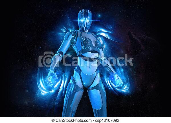 cyborg, frau - csp48107092