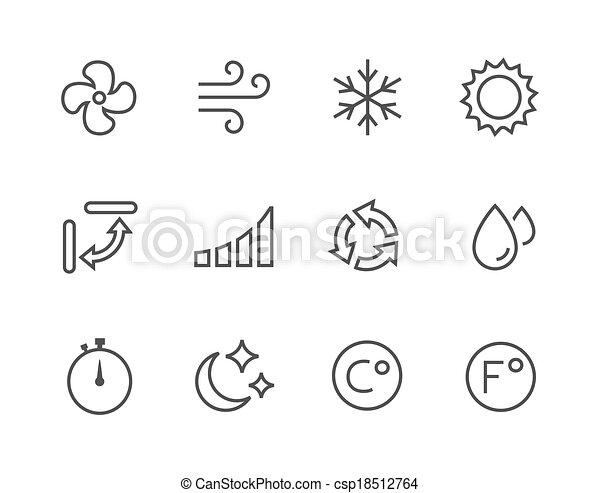 Dünne Klimaanlage Icons. - csp18512764