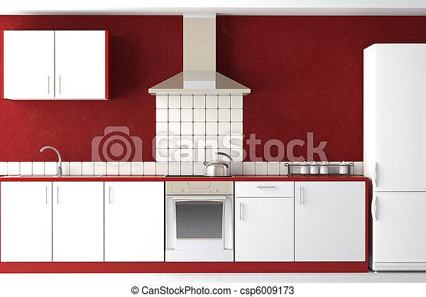 Das Interieur der modernen Küche. - csp6009173