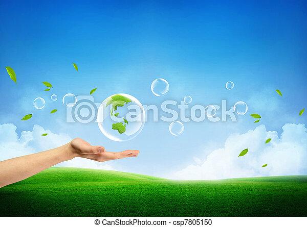 Das Konzept einer neuen grünen Erde - csp7805150