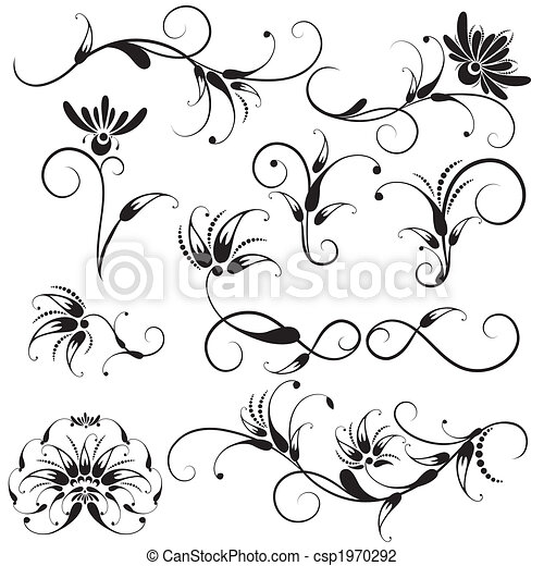 Dekorative Blumenmusterelemente - csp1970292