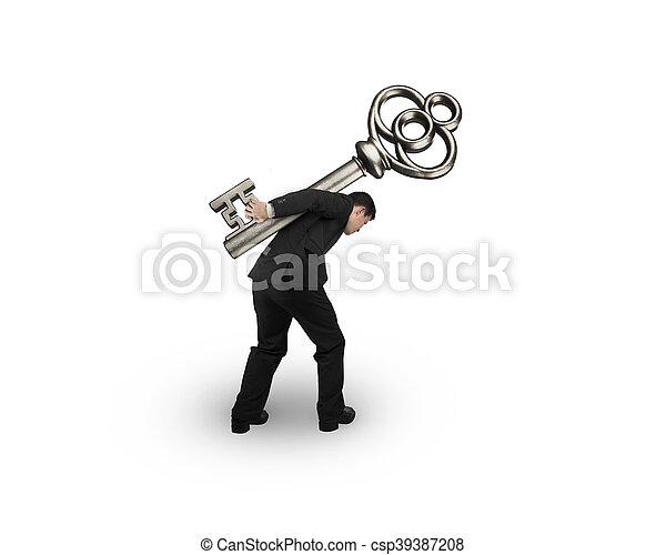 Der Mann trägt den Schatzschlüssel. - csp39387208