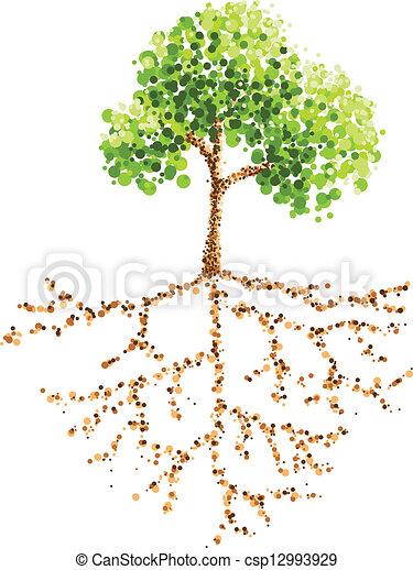 Dot malt Baum und Wurzel - csp12993929