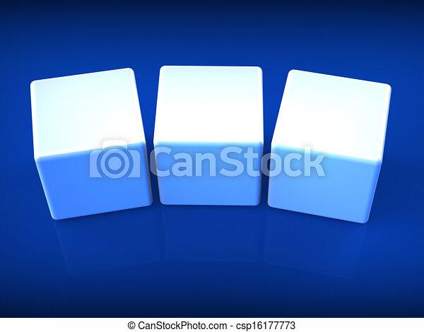 Drei leere Würfel zeigen Kopien für drei Buchstaben - csp16177773