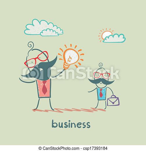 Ein Geschäftsmann, der eine Vorstellung von einem Untergebenen zeigt. - csp17393184