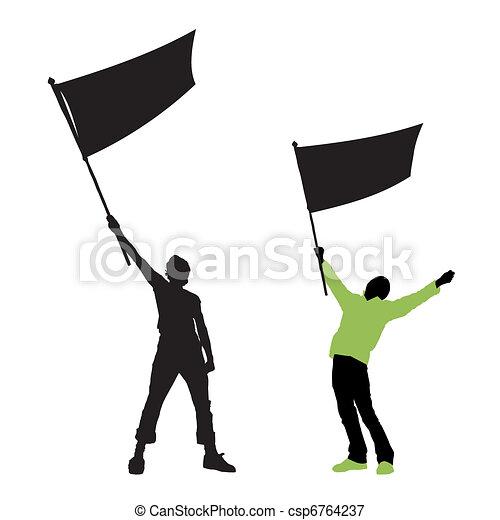 Ein Mann mit einer leeren Flagge - csp6764237