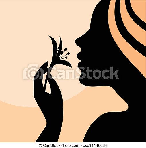 Eine Frau, die Blumenprofil riecht - csp11146034
