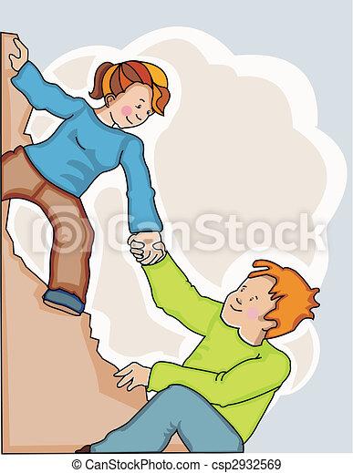 Eine Frau, die dem Menschen hilft, die Klippen zu erklimmen - csp2932569