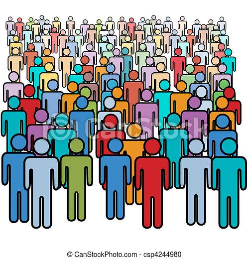 Eine große Menge von vielen Farbigen, die Gesellschaft - csp4244980