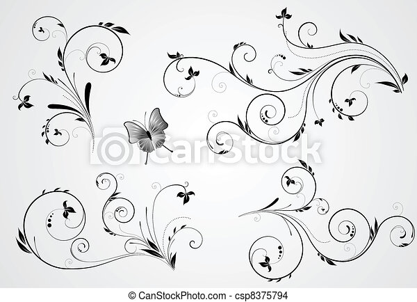 Eine Reihe von Blumenwirbeldesigns. - csp8375794