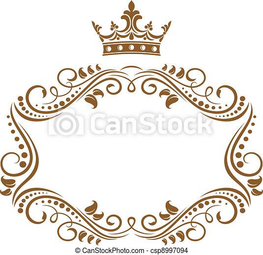 Eleganter königlicher Rahmen mit Krone - csp8997094