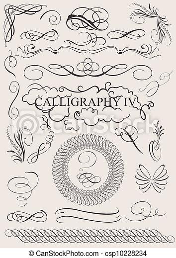 Vektor-Set: Kalligraphie-Entwicklungselemente und Seite Dekoration - csp10228234