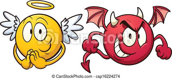 Engel und Teufelsemoticons. - csp16224274