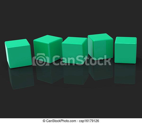 Fünf leere Blöcke zeigen Kopierraum für 5 Buchstaben. - csp16179126