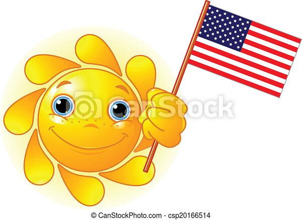 Sommersonne mit amerikanischer Flagge - csp20166514