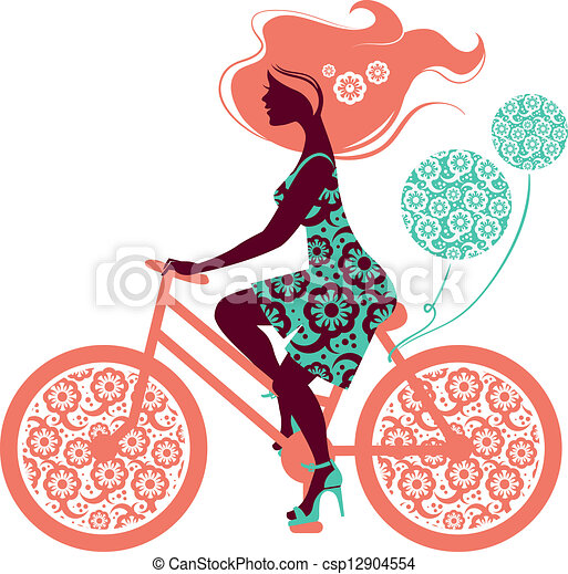 Silhouette von dem schönen Mädchen auf dem Fahrrad - csp12904554