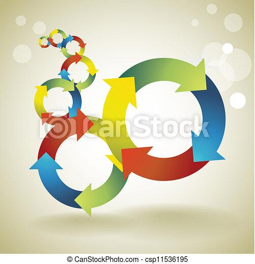 Farb-Recycle Symbole Konzept, Hintergrund, Vorlage - Illustration. - csp11536195
