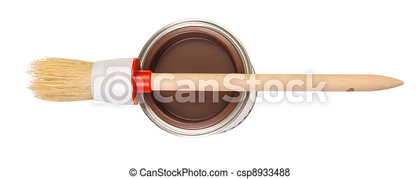 Farbdose mit Pinsel - csp8933488