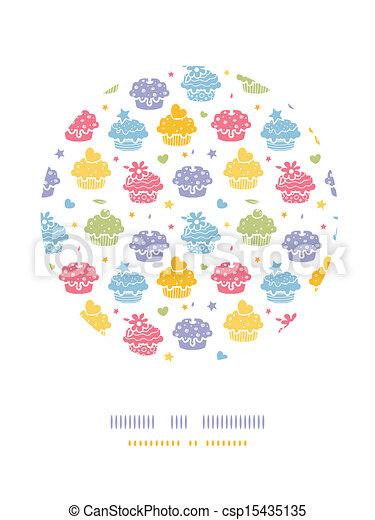 Farbige Cupcake-Party-Kreis-Dekorations-Hintergrund - csp15435135