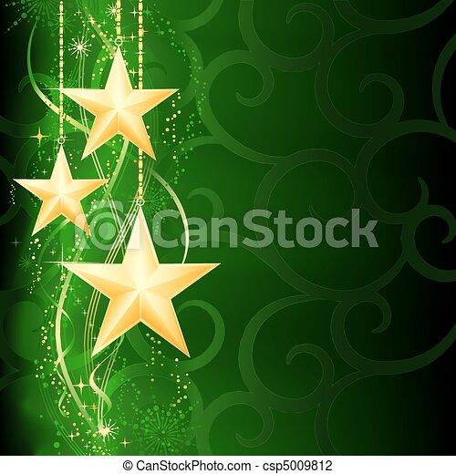 Fester, grüner Weihnachts Hintergrund mit goldenen Sternen, Schneeflocken und Grunge-Elementen. - csp5009812